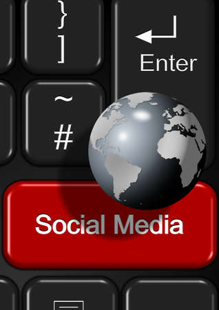 Part of keyboard with a social media button photo