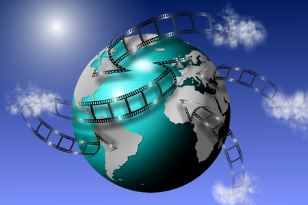 Film strips going all around earth globe with blue sky in the background