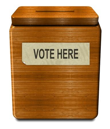 voting box: Illustrazione 3D di una vecchia scatola di legno di voto Archivio Fotografico