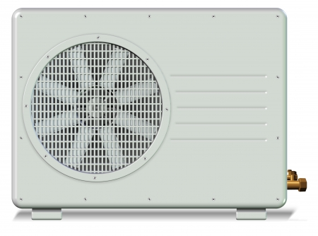 Outside unit of a split system air conditioner photo