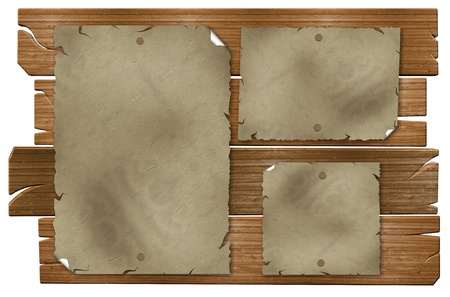 nailed: Old wooden boards forming a billboard with sheets of paper nailed to it Stock Photo
