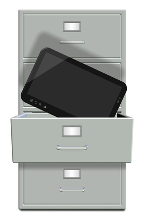 filing cabinet: A filing cabinet with one draw open and computer tablet in it