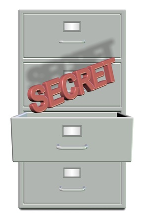 A filing cabinet with one draw open and word secret coming out photo
