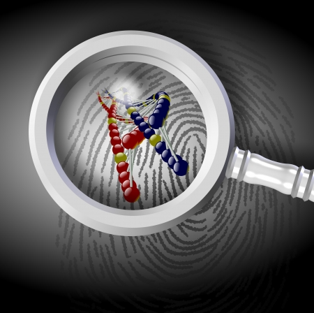 DNA strand coming out from fingerprint under magnifying glass