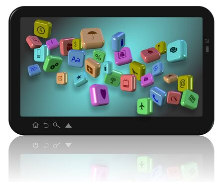 PC tablet with different application icons on its screen Stock Photo - 20833089
