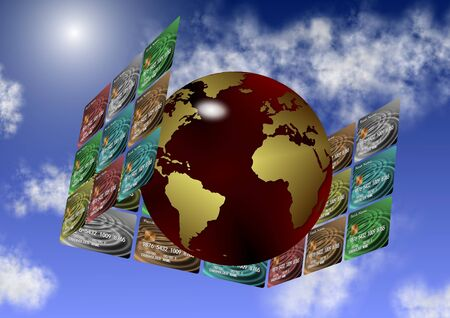 electronic transaction: Earth globe surrounded by credit cards from all directions Stock Photo