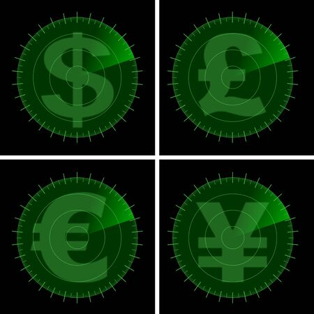 Major currency symbols on a green radar screen photo