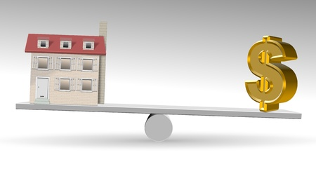 see saw: A house and golden dollar symbol on a see saw Stock Photo