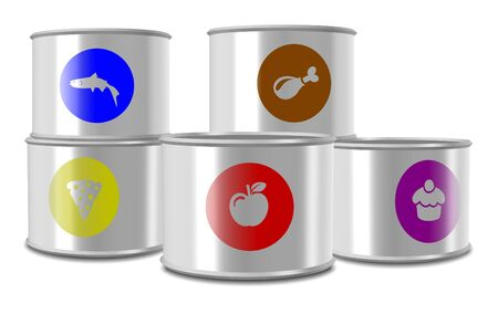 industrial products: A group of white cans with different type of food in them Stock Photo