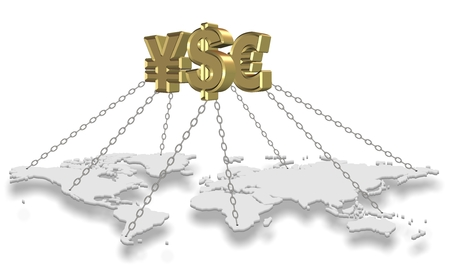 currency symbols: Major golden currency symbols holding world with chains