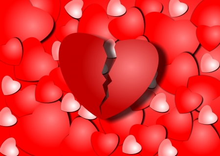 relationship breakup: Background illustration of a group of red hearts and broken one in the middle