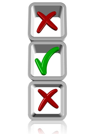 checklist: A green tick and couple of red crosses in side of white boxes
