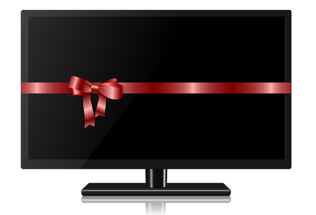 flat screen tv: Widescreen TV wrapped with a red silk ribbon