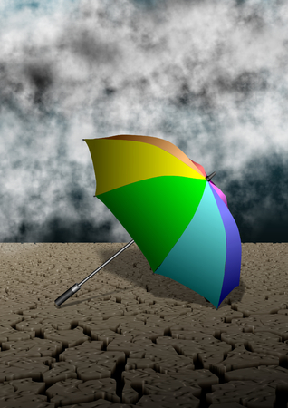 dryness: Colorful umbrella  in the middle of desert and stormy clouds in the background Stock Photo