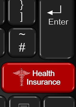 health insurance: Part of keyboard with a red health insurance button