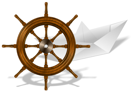 ship wheel: A paper boat and wooden ship wheel on white background Stock Photo