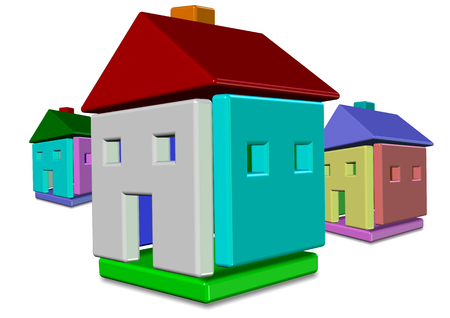 Abstract 3d illustration of group of colorful houses illustration