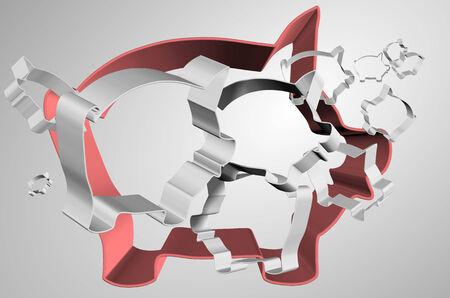 Abstract illustration of group of piggy banks outlines suspended in the air illustration