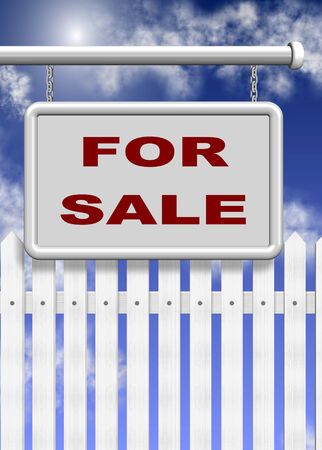 A white for sale sign and picket fence behind it with blue sky in the background photo