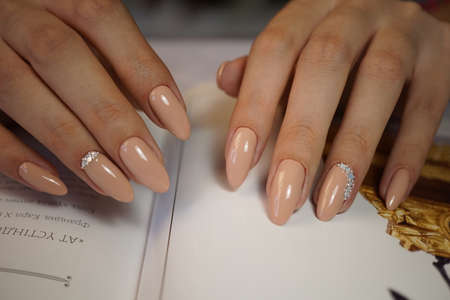 Natural nails with  clean manicure.