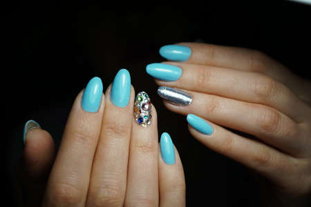 human fingernail: Awesome nails and beautiful clean manicure. Nails are natural. Manicure is made using nails drill machine.