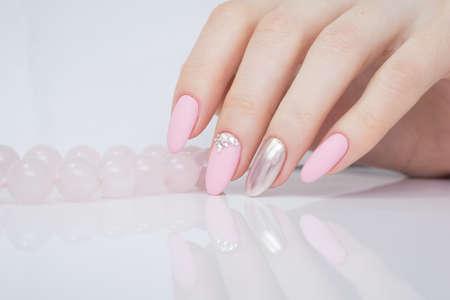 Beautiful Manicure And Nail Art. Natural Nails And Gel Polish. Stock ...