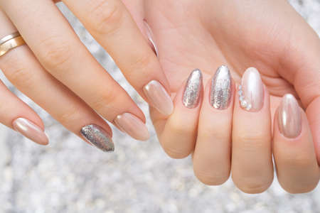Hands with beautiful manicure. Natural nails with gel polish