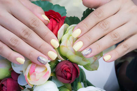 womens hands: Beautiful natural nails. Clean manicure and nail art. Womens hands