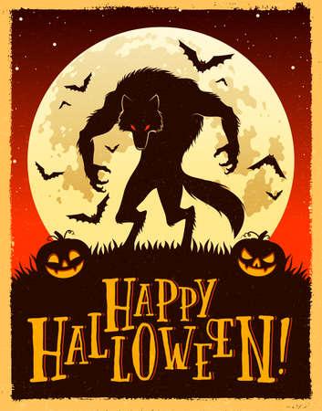Vektorillustration eines Werwolfs, der Kürbislaternen und der Fledermäuse gegen den dunkelroten Nachthimmel und den Vollmond. Glücklicher Halloween-Text. Vektorgrafik