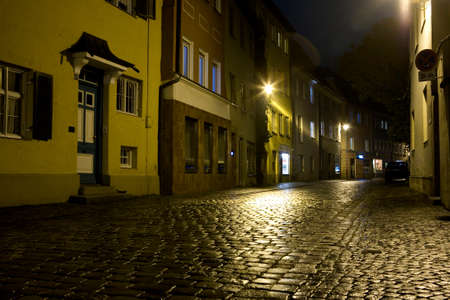 historic district: night street in the historic district, Bavaria, Germany, Kaufbeuren Stock Photo