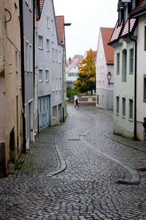 historic district: geplasterte street in the historic district, Bavaria, Germany, Kaufbeuren Stock Photo