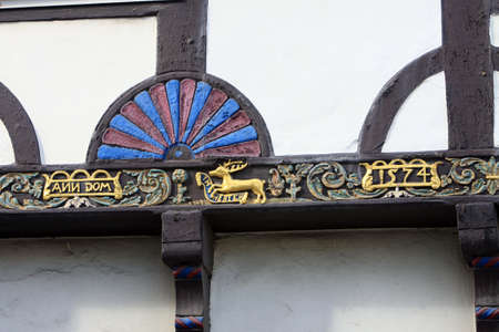 soest: Detail of a timbered house, North Rhine-Westphalia, Germany, Soest Stock Photo