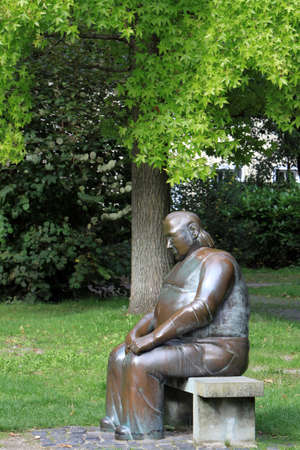 theodor: Sculpture Seated in the great Theodor Heuss Park, North Rhine-Westphalia, Germany, Soest