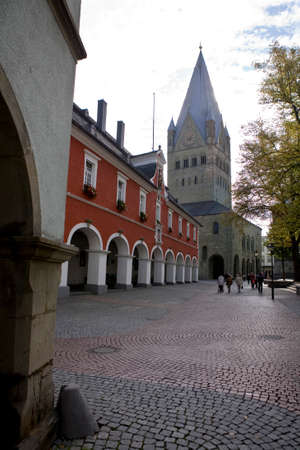 soest: historic Soest Soest Cathedral and Town Hall, North Rhine-Westphalia, Germany, Soest Stock Photo
