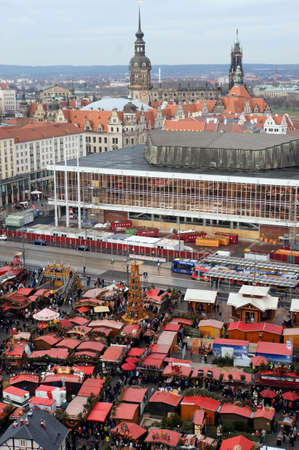 striezelmarkt: View from the tower of the cross church on the Striezelmarkt on the Old Market Square, Saxony, Germany, Dresden