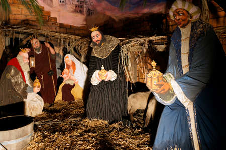 Nativity picture at the Christmas market, Saxony, Germany, Dresden