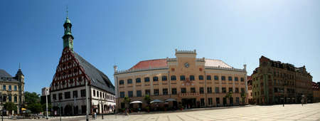 old town townhall: Gewandhaus and City Hall on the main market, Saxony, Germany, Zwickau Editorial
