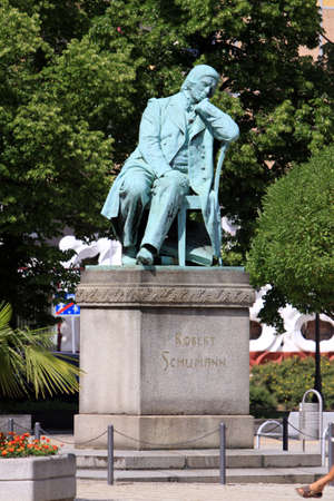 Robert Schumann monument, Saxony, Germany, Zwickau, Stock Photo