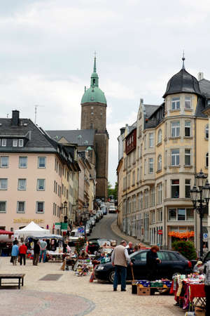 saxony: Marketplace Annaberg-Buchholz, Saxony, Germany Editorial