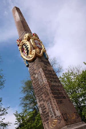 milestone: Historic milestone, Saxony, Germany, Oberwiesenthal