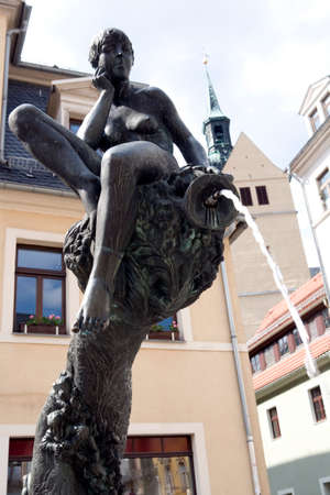 fortuna: Fortuna Fountain, St Peters Church in the background, Saxony, Germany, Freiberg