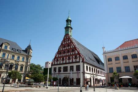 main market: Gewandhaus sul mercato principale, Sassonia, Germania,