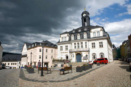 old town townhall: former town hall on the market square, Saxony, Germany, Black Mountain Editorial