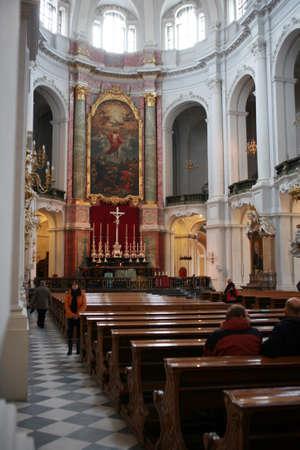 high altar: Interior of the Hofkirche, Saxony, Germany, Dresden,
