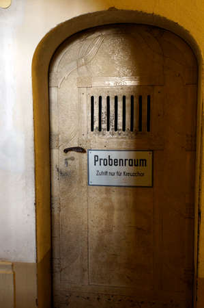 Door to the sample chamber of the Cross choir, Saxony, Germany, Dresden Redakční