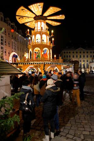 striezelmarkt: Christmas pyramid on the Striezelmarkt, Saxony, Germany, Dresden Editorial