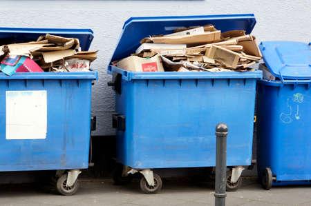 wastepaper: Blue with tons of paper waste, Leverkusen, North Rhine-estphalia, Germany