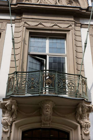balcony window: Window with balcony in an Art Nouveau building, Cologne, North Rhine-Westphalia, Germany, Mlheim