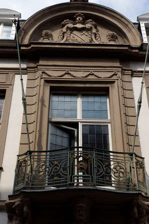 balcony window: Window with balcony in an Art Nouveau building, Cologne, North Rhine-Westphalia, Germany, Mülheim