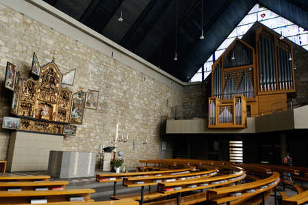 salvator: Salvator church with altar Pieta and Sorrows of Heimbach in the Antwerp altarpiece, North Rhine-Westphalia, Germany Editorial